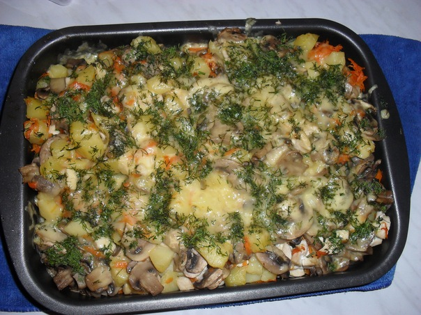 Рецепт с курицей и грибами и картошкой рецепт в духовке