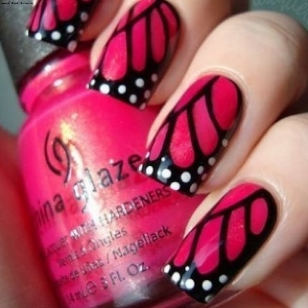 Как сделать на ногти узор бабочки
